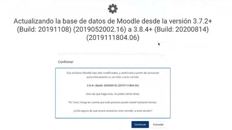 Actualizar la base de datos Moodle, Escuela Didáctica