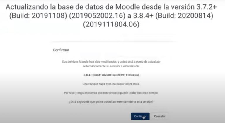 Clic en continuar para que él actualice en la base de datos todos los complementos de Moodle, Escuela Didáctica