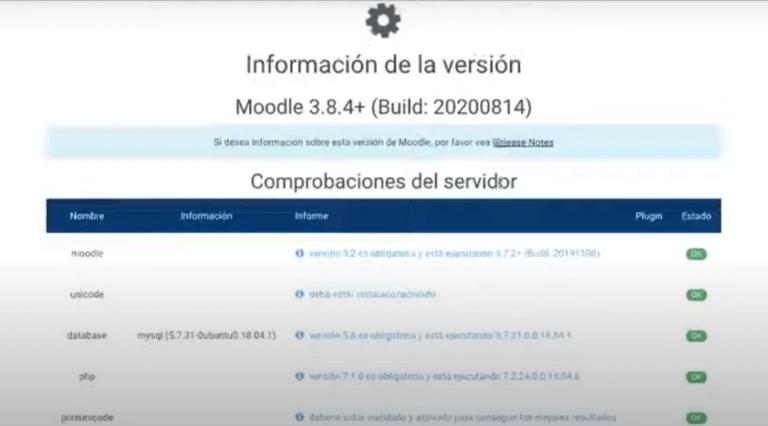 El sistema realiza una verificación de todas las extensiones de php e indica si el entorno cumple con todos los requisitos mínimos para actualizar a la nueva versión de Moodle, Escuela Didáctica